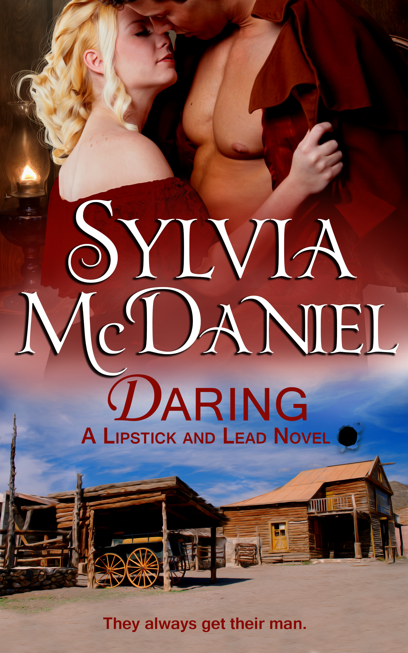 Cover of Daring by Sylvia McDaniel. A blonde woman in the arms of a handsome cowboy.