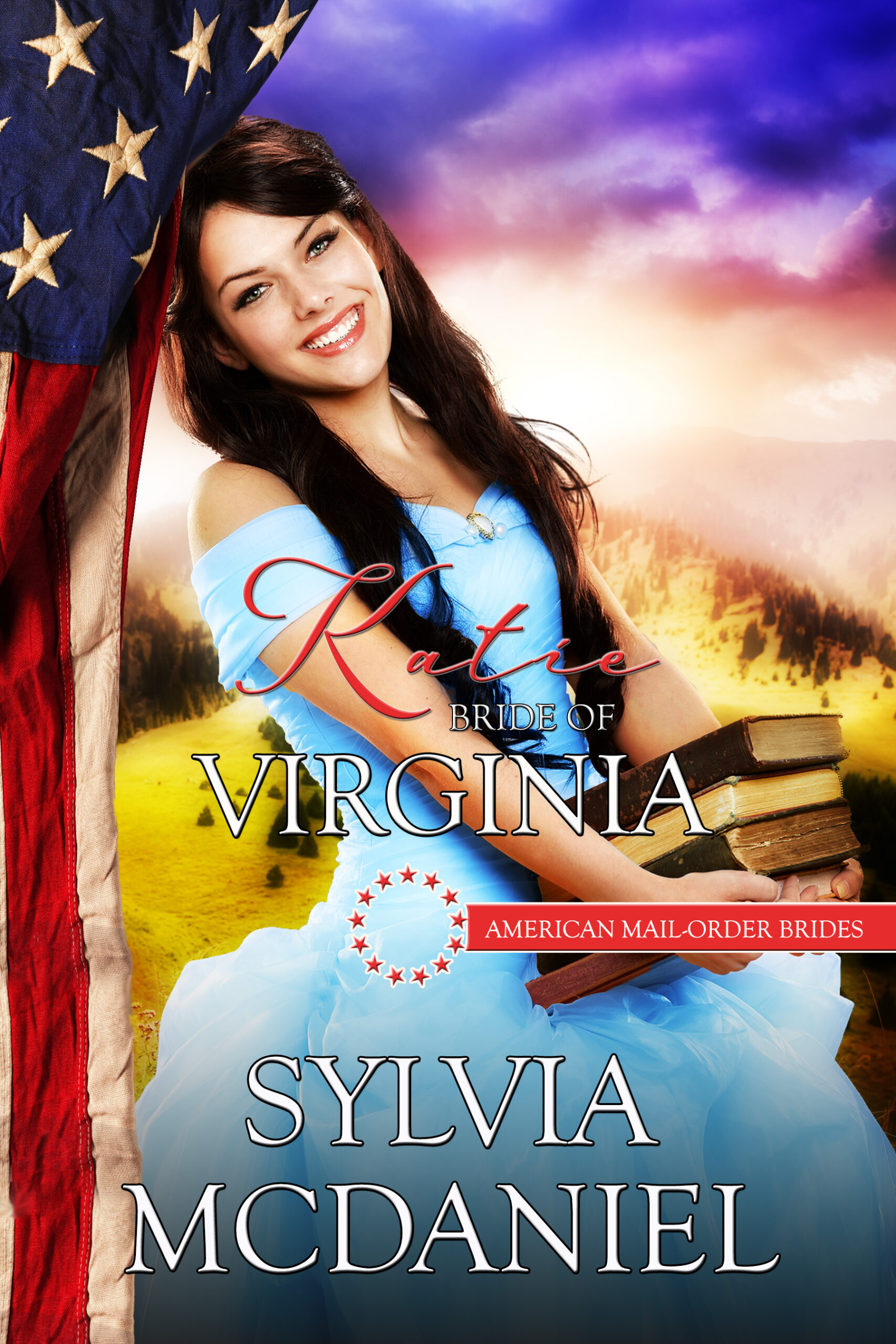 Cover for Katie by Sylvia McDaniel. A girl smiling in a blue dress holding books.