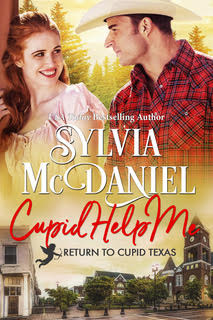 Cover of Cupid Help Me, by Sylvia McDaniel. Red haired woman smiling at Cowboy