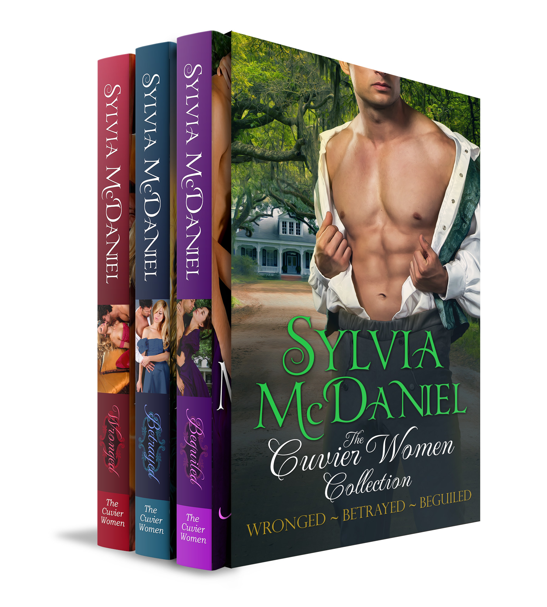 Cover of the Box Set of The Cuvier Women. Naked man chest on the cover.