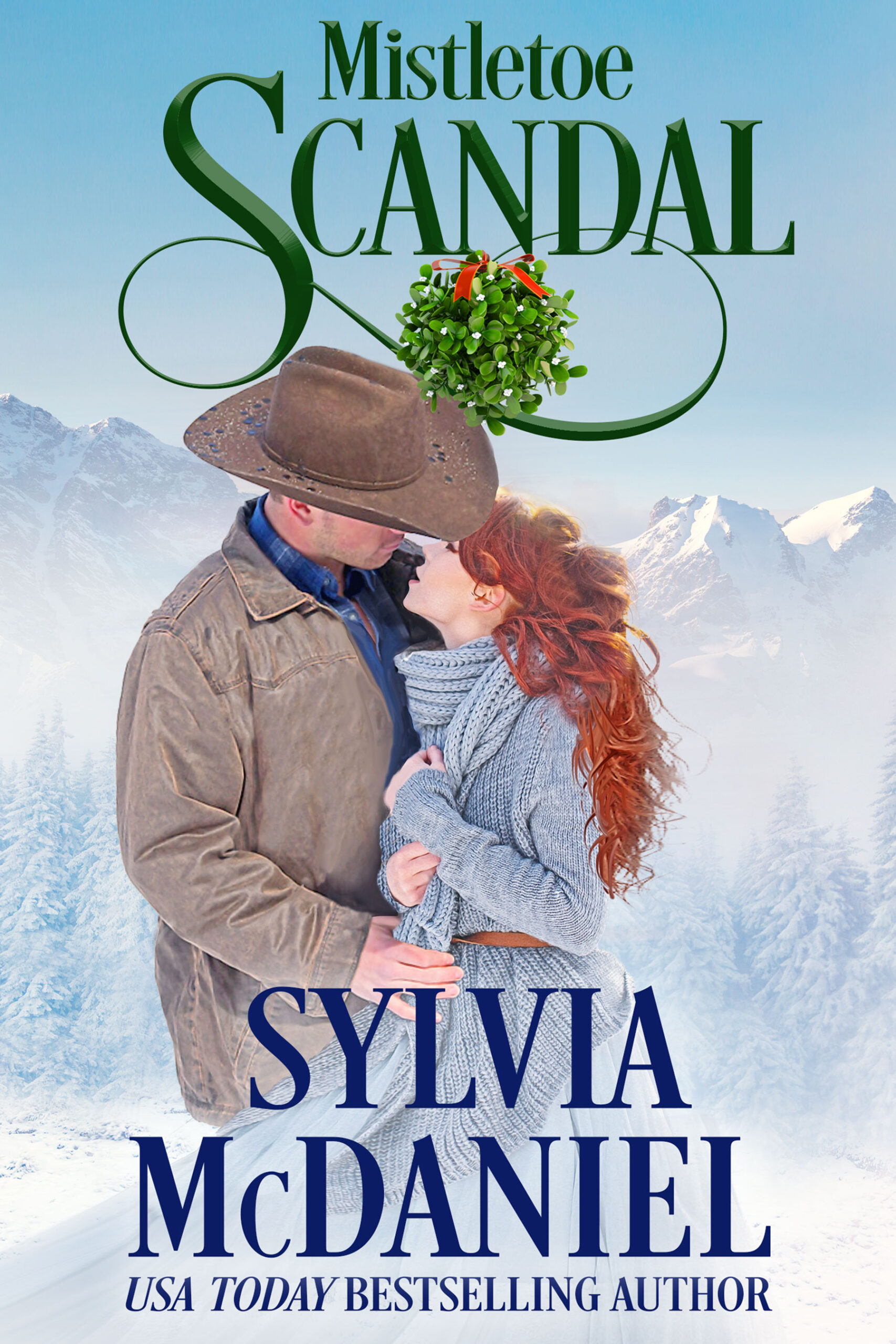 The cover of Mistletoe Scandal by Sylvia McDaniel. Red haired woman looking up at a handsome cowboy