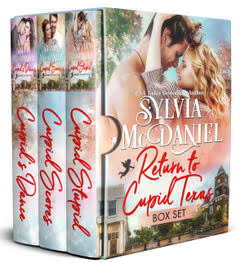Box Set cover of Return to Cupid, Texas, the first three books by Sylvia McDaniel. Blonde woman gazing at handsome man. Box Set Cover