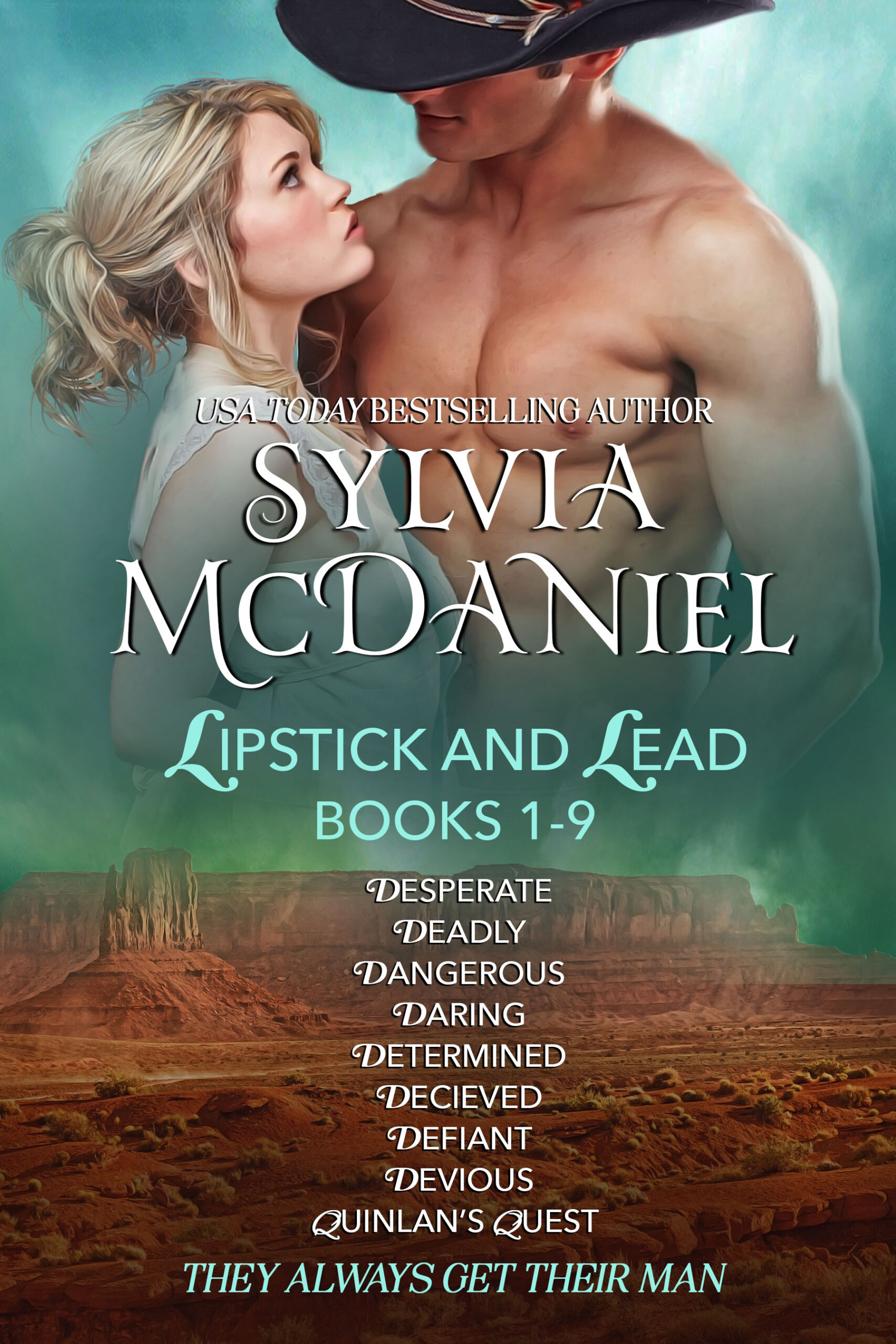 Cover of the Box Set of Lipstick and Lead Series by Sylvia McDaniel. Blonde woman looking up at a cowboy without his shirt.