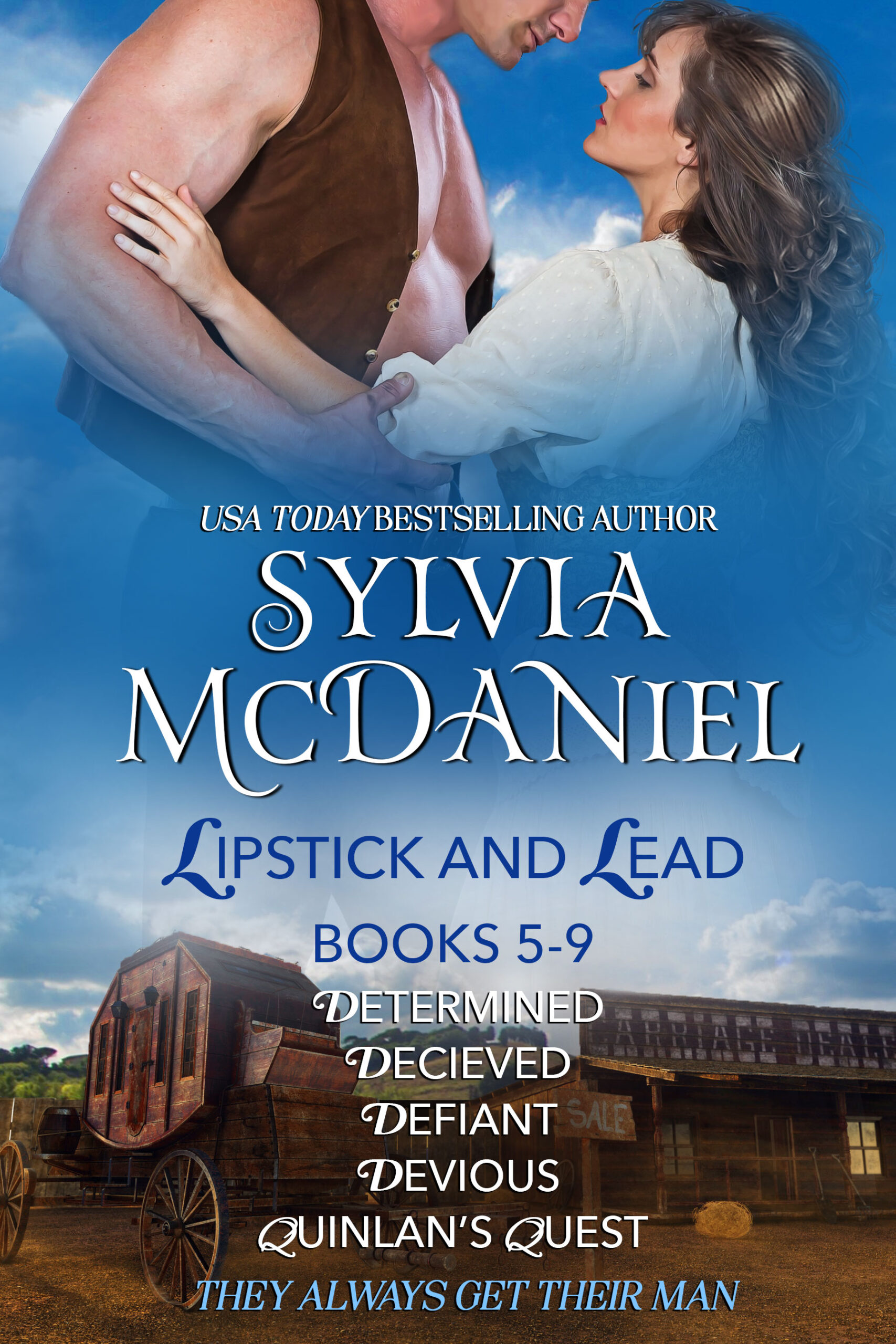 Cover of Box Set of Lipstick and Lead books 5-9 by Sylvia McDaniel. Brunette woman looking up a cowboy. Box Set for Lipstick and Lead books 5-9.