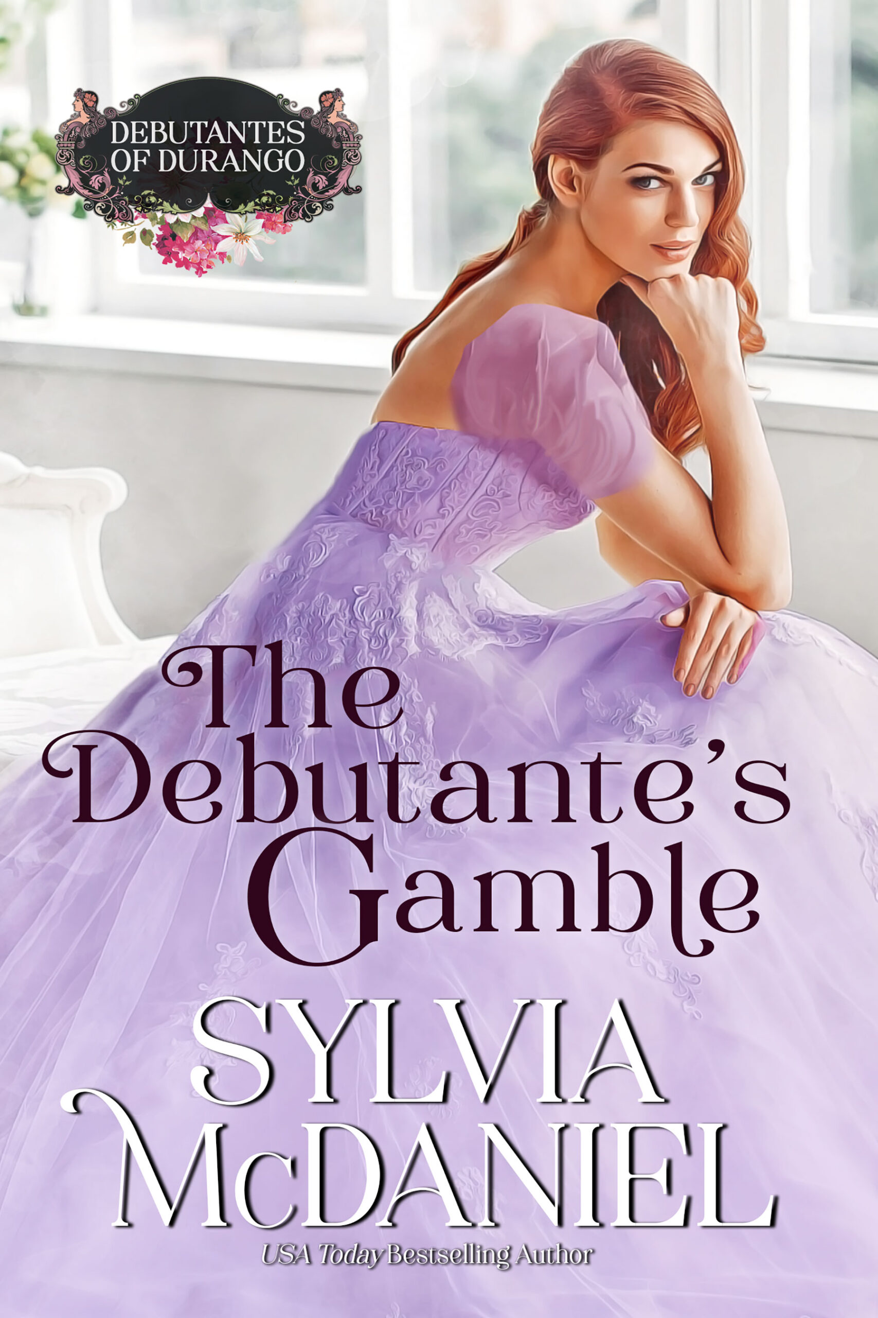 Cover of the Debutante's Gamble by Sylvia McDaniel. Red headed woman in a purple dress gazing back.