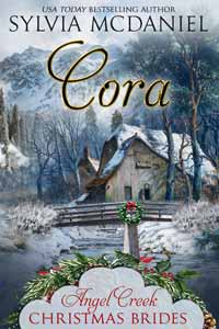 Cover of Cora by Sylvia McDaniel. Christmas Book with Image of Church