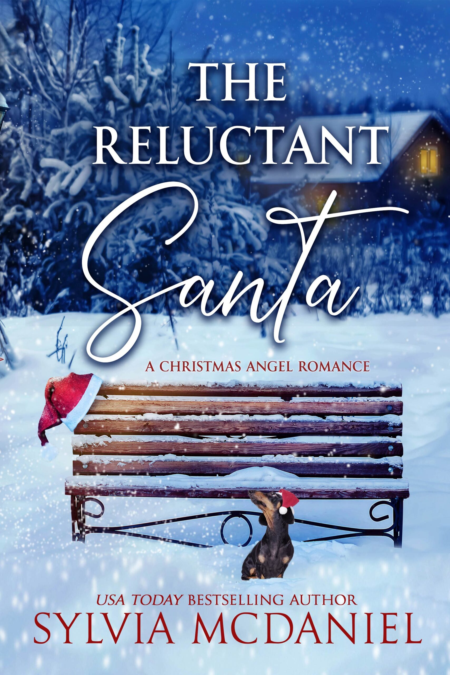 Cover of The Reluctant Santa by Sylvia McDaniel. An empty bench in the snow with a Santa hat on it.