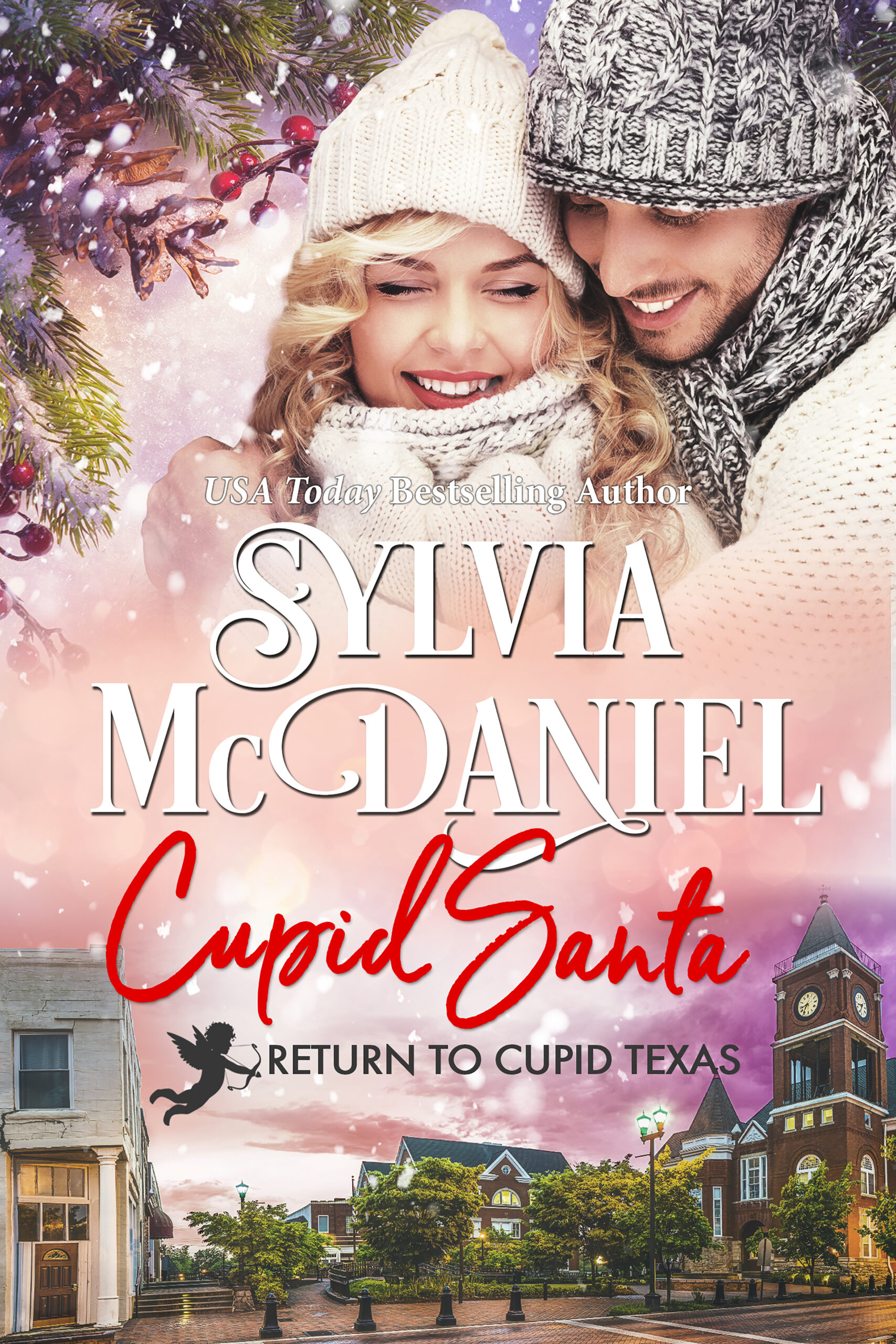 Cupid Santa by Sylvia McDaniel. Blonde woman and handsome all bundled up against the cold.