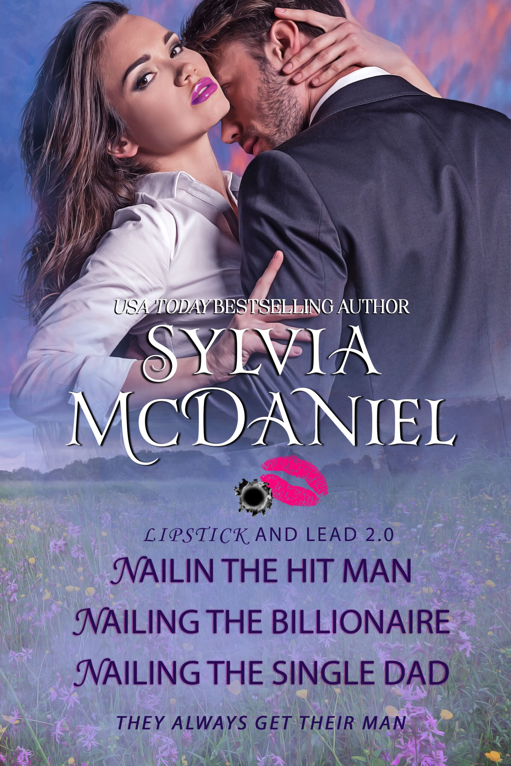 Cover of Lipstick and Lead 2.0 Box Set. Brunette woman in the arms of a handsome man.